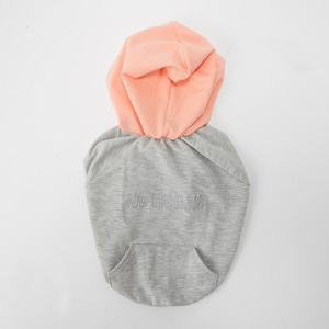 peepoop - natural hoodie (gray+orange)